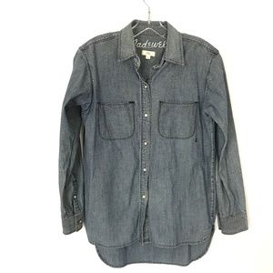 Madewell Blue Chambray Button up Size XS Hi-Lo